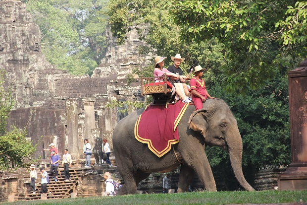 Tourist with Elephant Rides in Bayon Area - Angkor Focus Travel